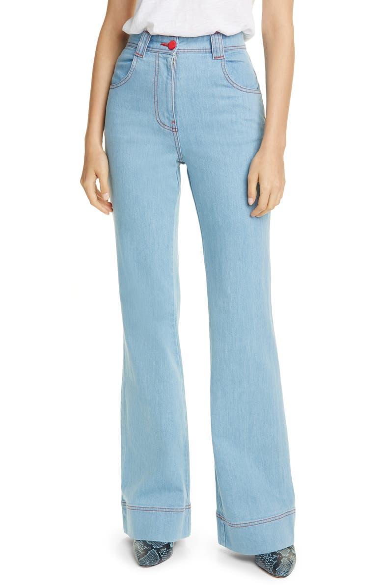 STAUD Austin Flare Jeans, Main, color, LIGHT WASH