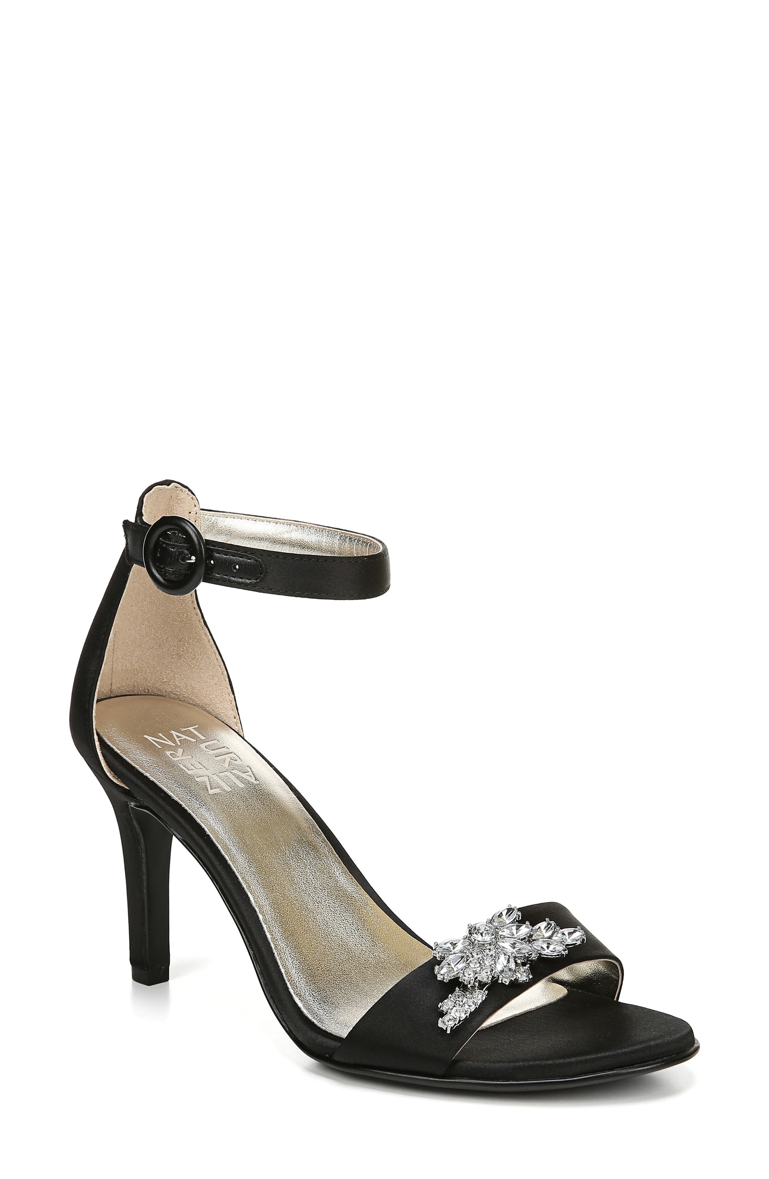 Kinsley Sandal, Main, color, BLACK SATIN