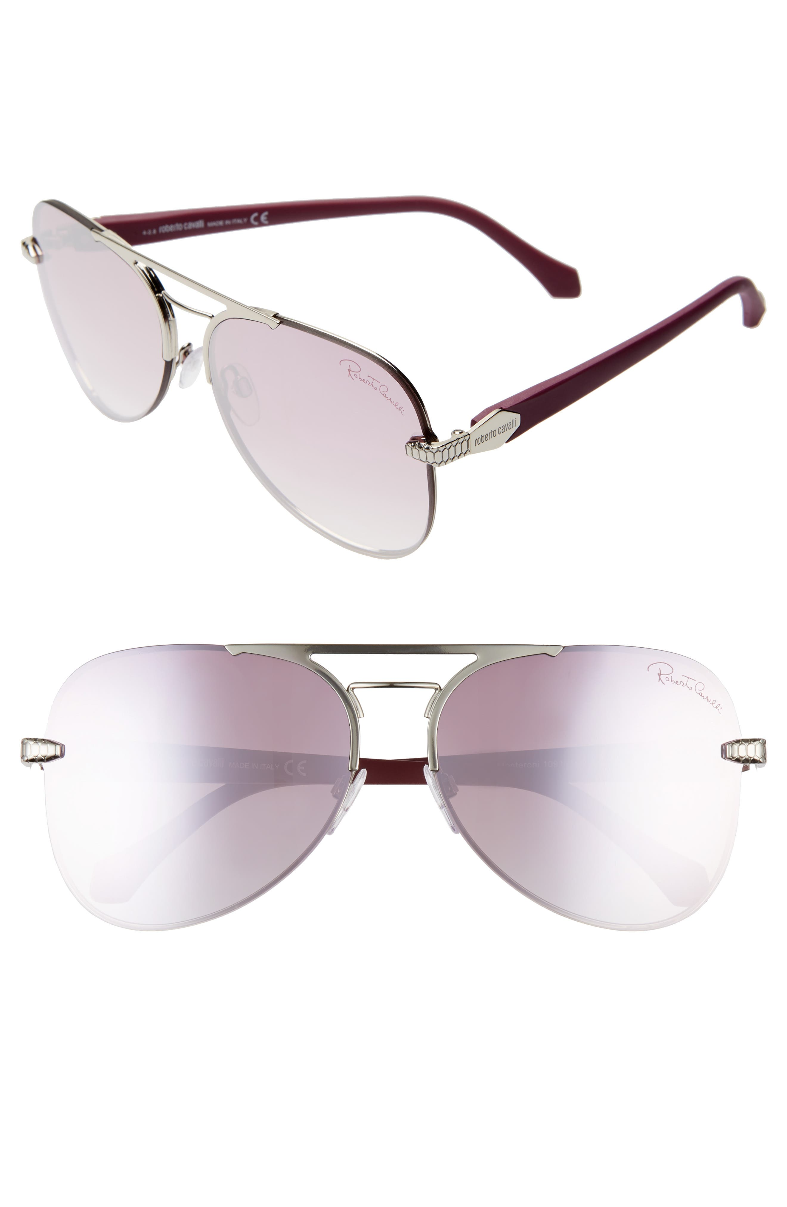 Roberto Cavalli 60Mm Mirrored Aviator Sunglasses - Shiny Palladium/ Bordeaux Mir