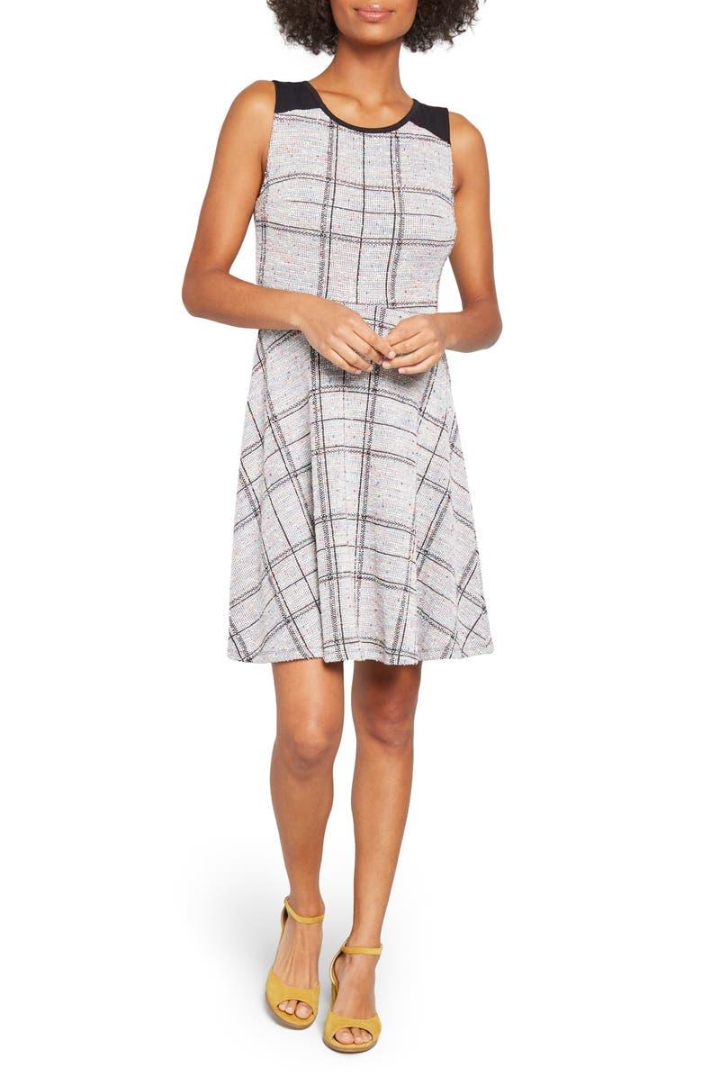 MODCLOTH Windowpane Plaid A-Line Dress, Main, color, 460