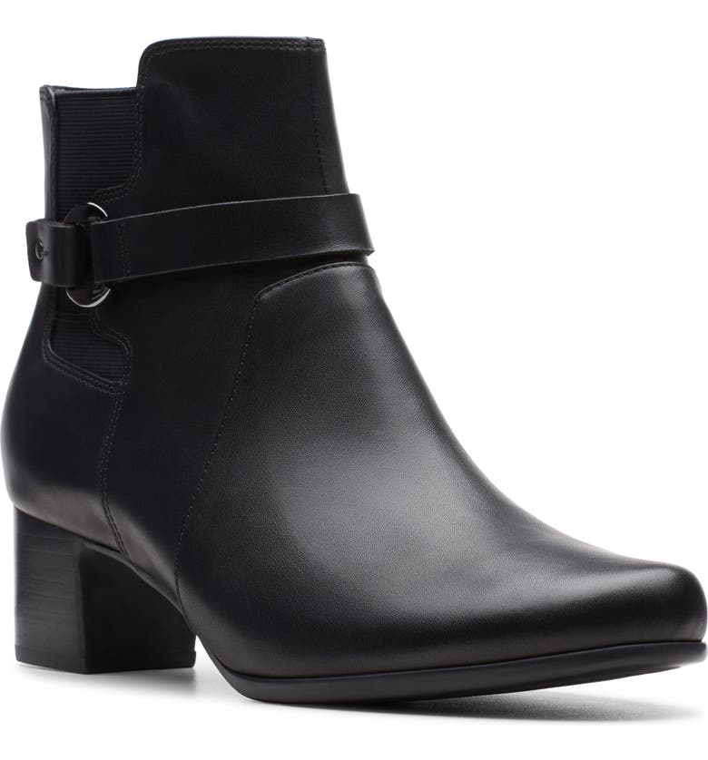 CLARKS<SUP>®</SUP> Un Damson Mid Bootie, Main, color, BLACK LEATHER