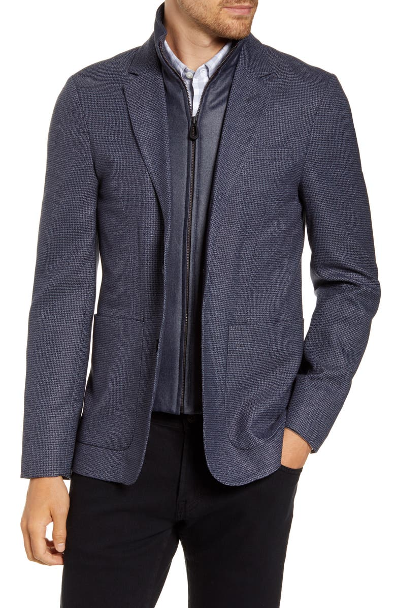 TED BAKER LONDON Sport Coat with Removable Bib, Main, color, BLUE