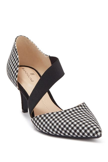 Image of Bandolino Pointed Toe Houndstooth Print Stretch Cross Band High Heel