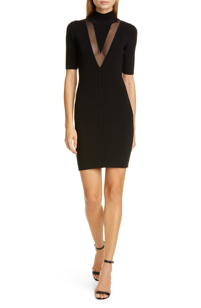 CUSHNIE Sheer Panel Body-Con Dress, Main, color, BLACK