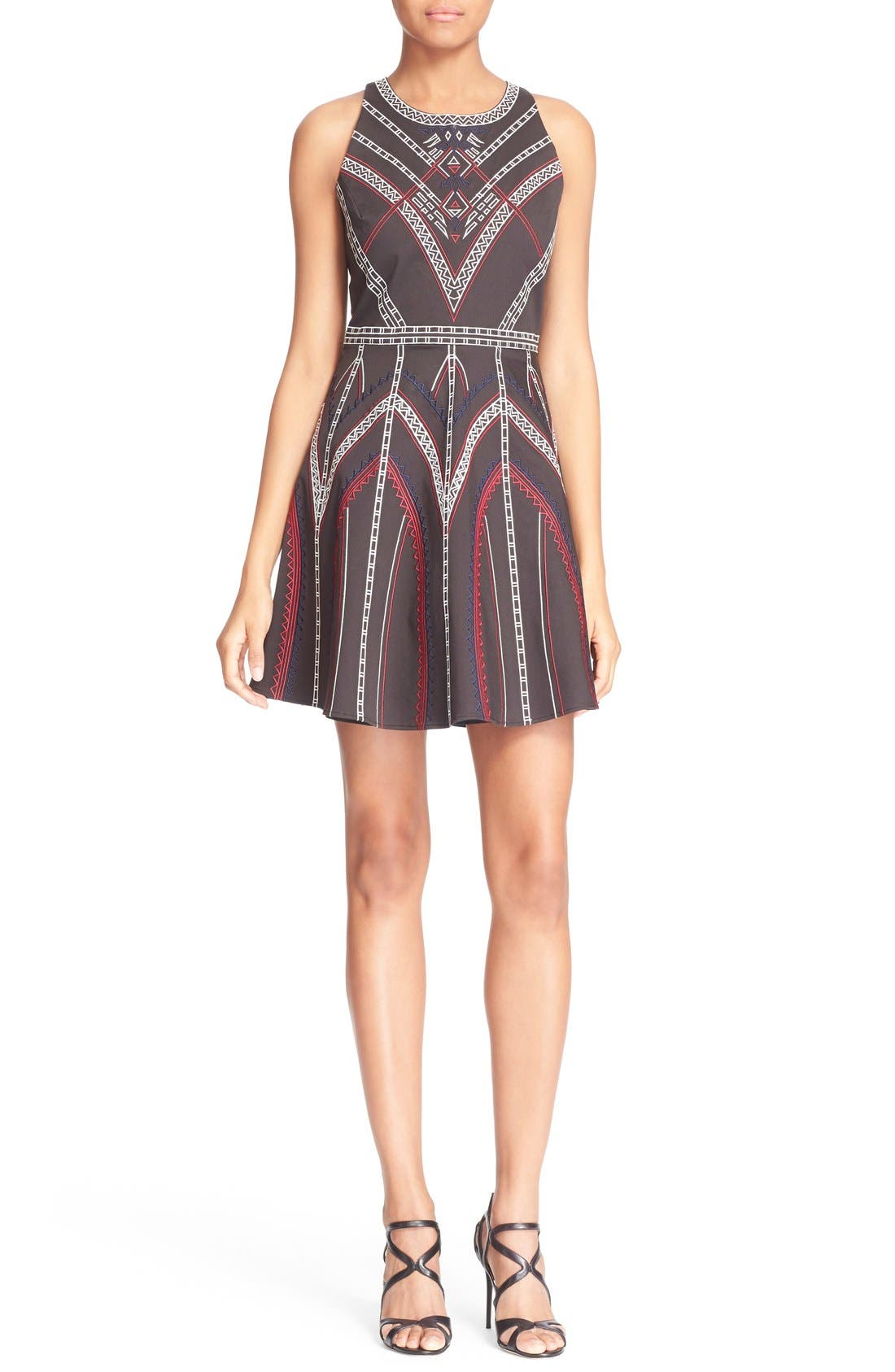 ,                             'Garnet' Embroidered Fit & Flare Dress,                             Main thumbnail 1, color,                             001