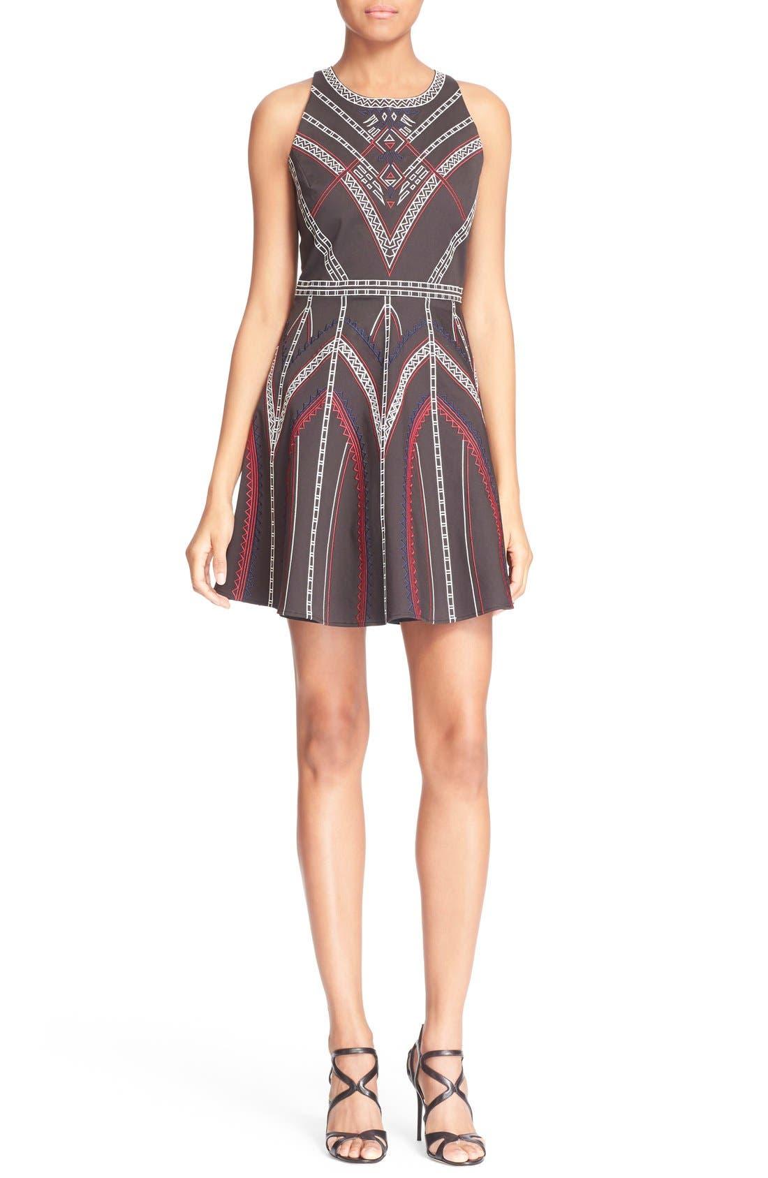 'Garnet' Embroidered Fit & Flare Dress, Main, color, 001