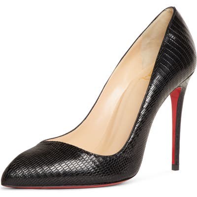 Christian Louboutin Corneille Lizard Embossed Pointy Toe Pump, Black