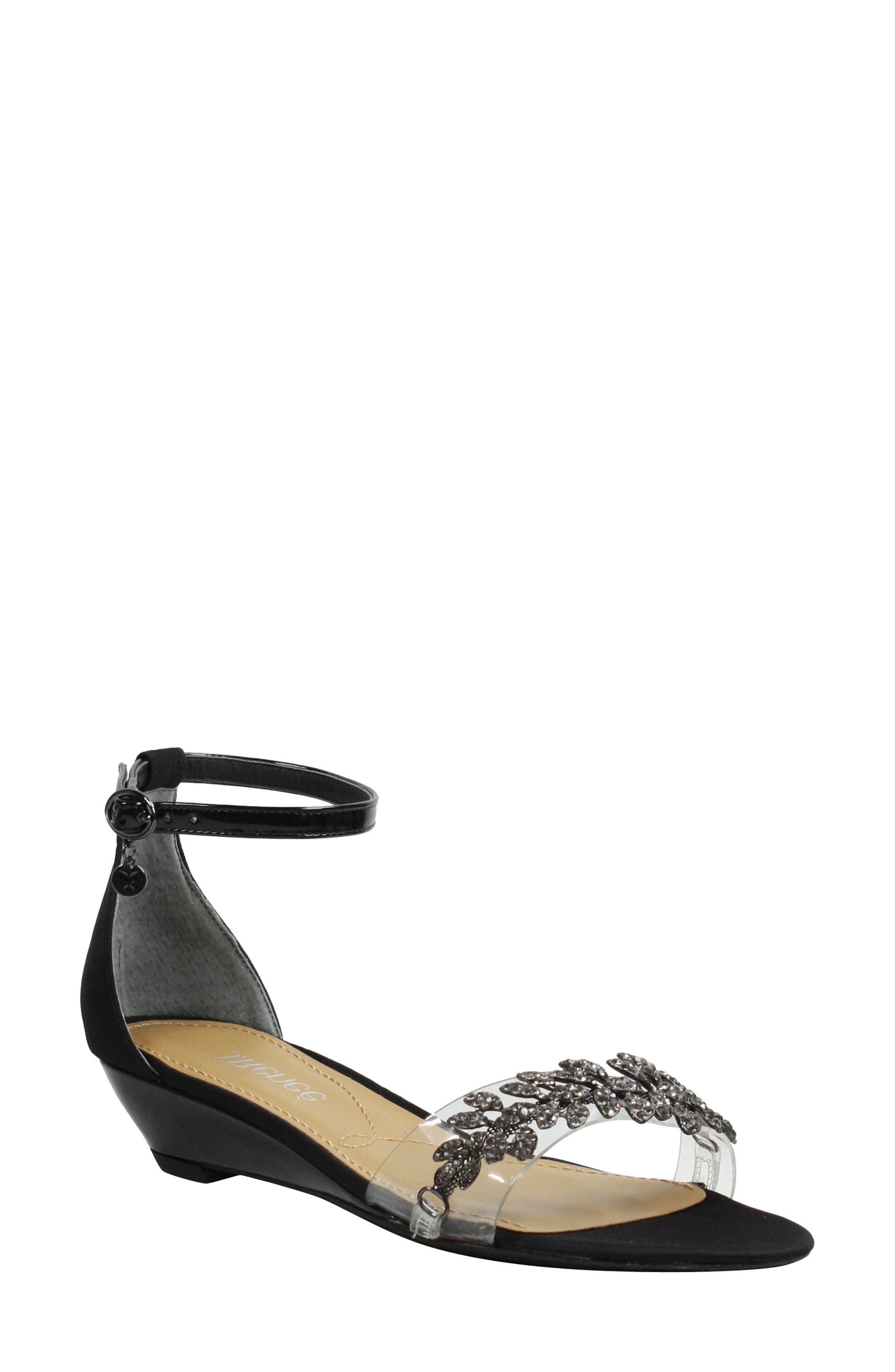 Evania Ankle Strap Sandal, Main, color, BLACK SATIN