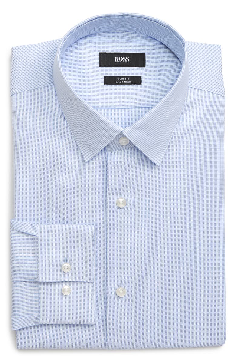 BOSS Isko Slim Fit Easy Iron Geometric Dress Shirt, Main, color, LIGHT PASTEL BLUE