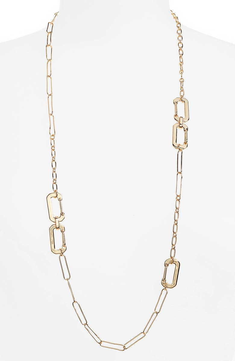 BP. Long Linear Link Chain Necklace, Main, color, GOLD