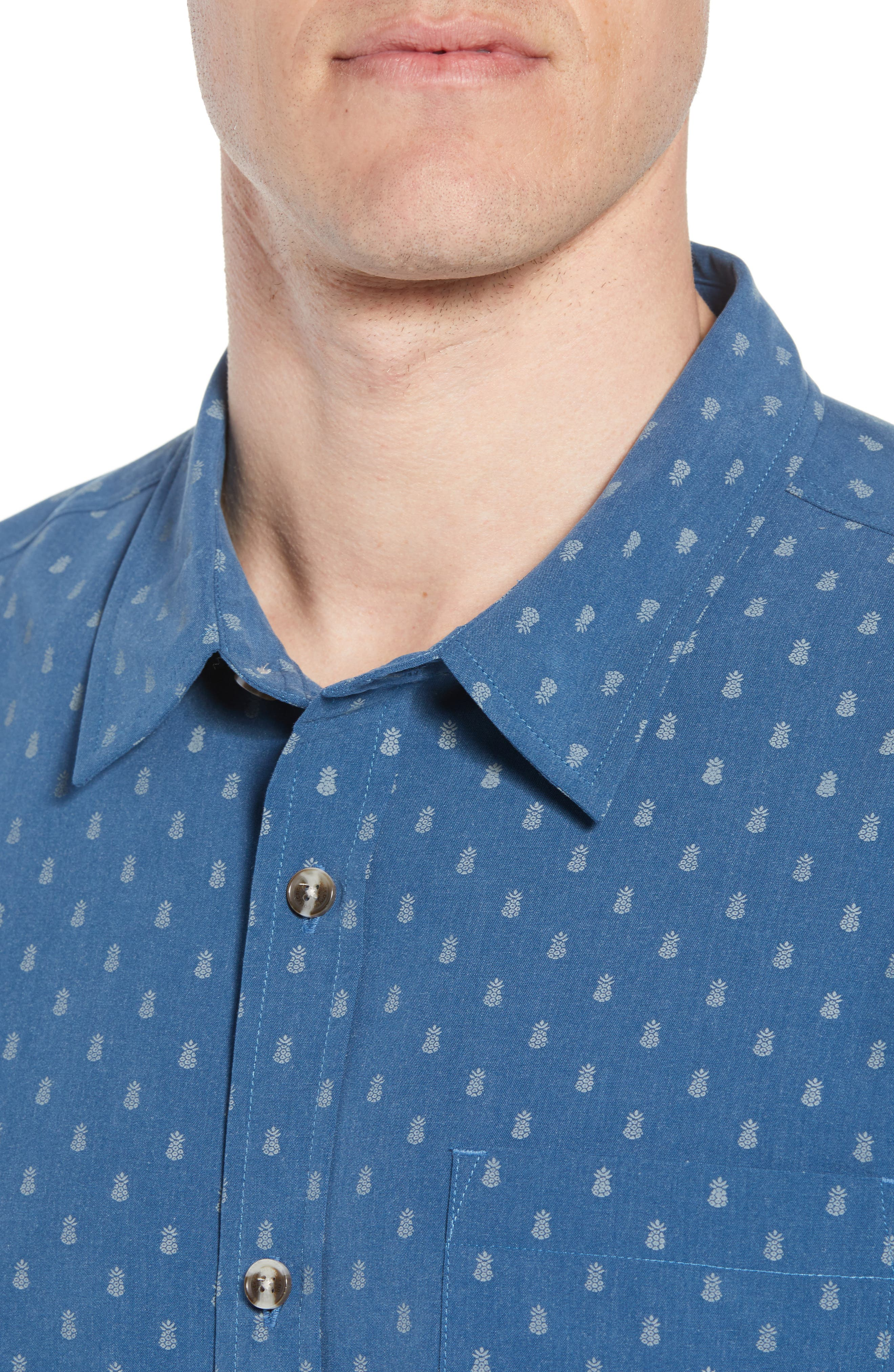 ,                             Home Grown Pineapple Sport Shirt,                             Alternate thumbnail 4, color,                             COBALT