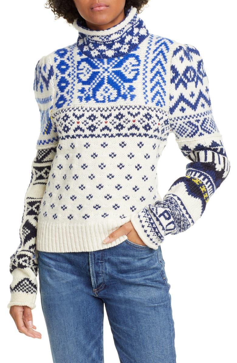 POLO RALPH LAUREN Turtleneck Nordic Sweater, Main, color, CREAM MULTI