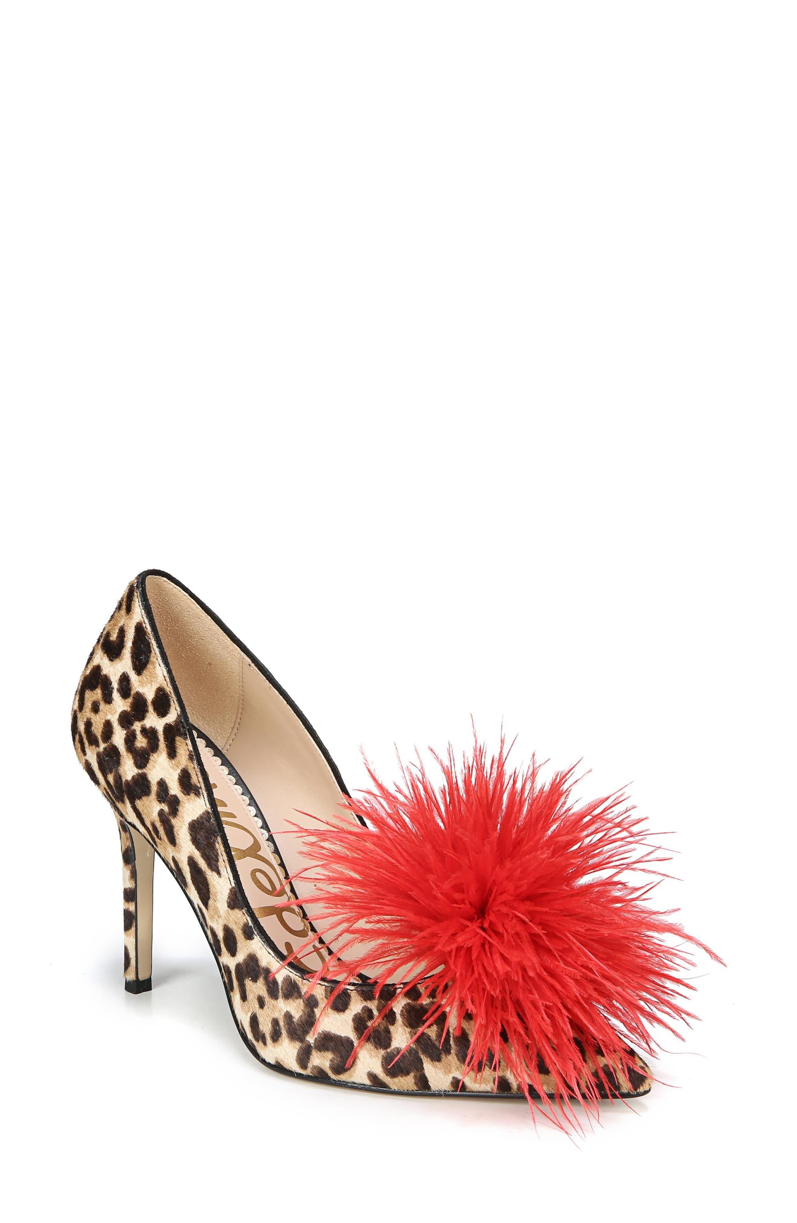 ,                             Haide Feather Genuine Calf Hair Pompom Pump,                             Main thumbnail 10, color,                             200