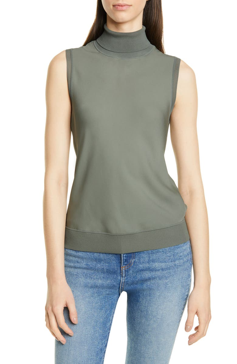 THEORY Mix Media Turtleneck Sleeveless Silk Top, Main, color, FADED SAGE