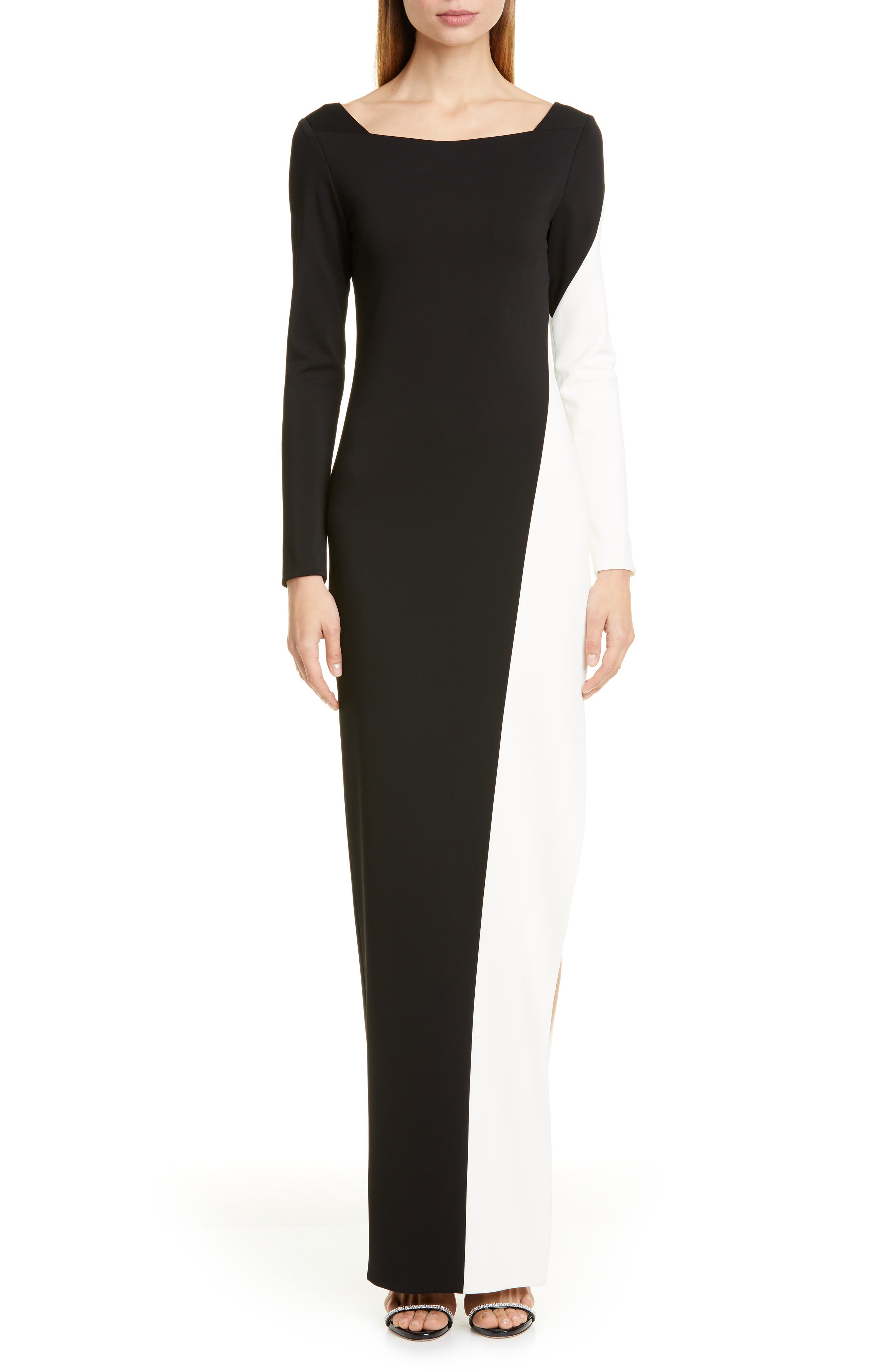 Haney Long Sleeve Colorblock Gown, Black