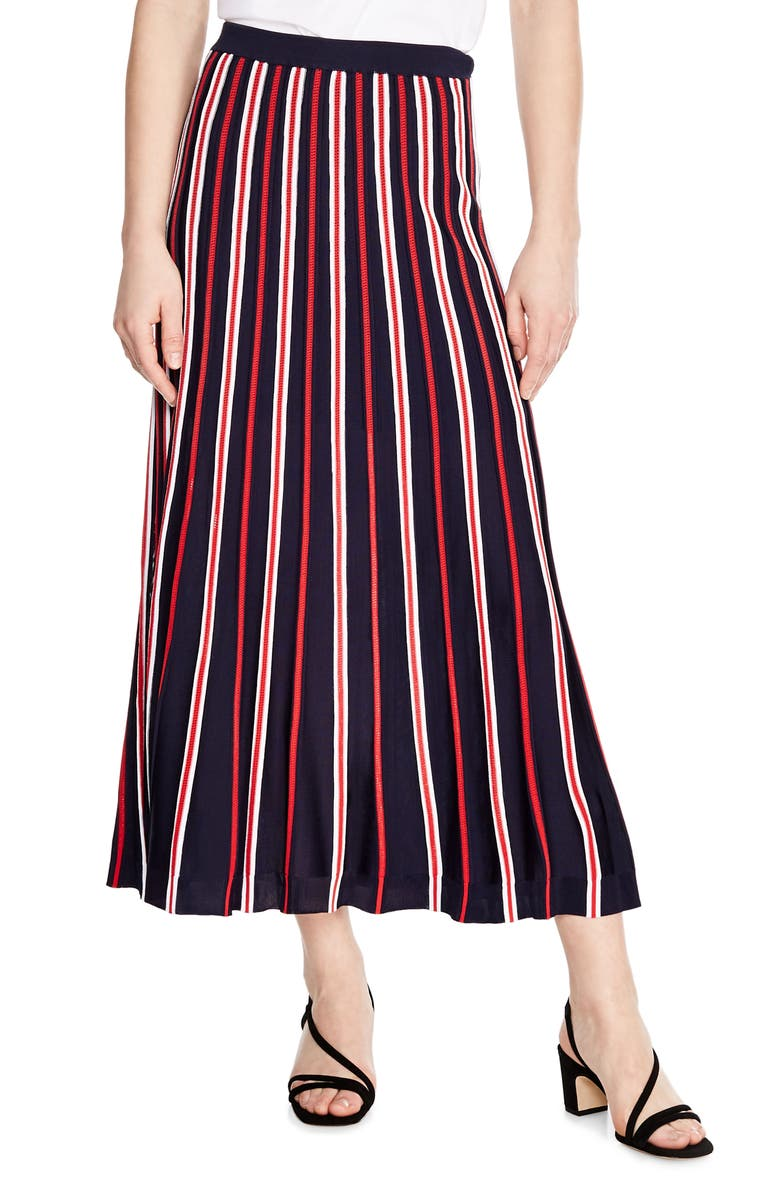 SANDRO Loukas Stripe Midi Skirt, Main, color, 400