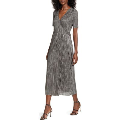 All In Favor Metallic Pleated Short Sleeve Wrap Midi Dress, Grey