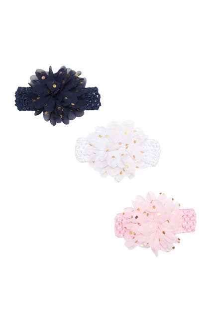 Image of CAPELLI OF NEW YORK Metallic Dot Flower Popcorn Knit Infant Headwrap - Pack of 3