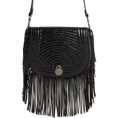 Longchamp Cavalcade Fringe Leather Saddle Bag - Black