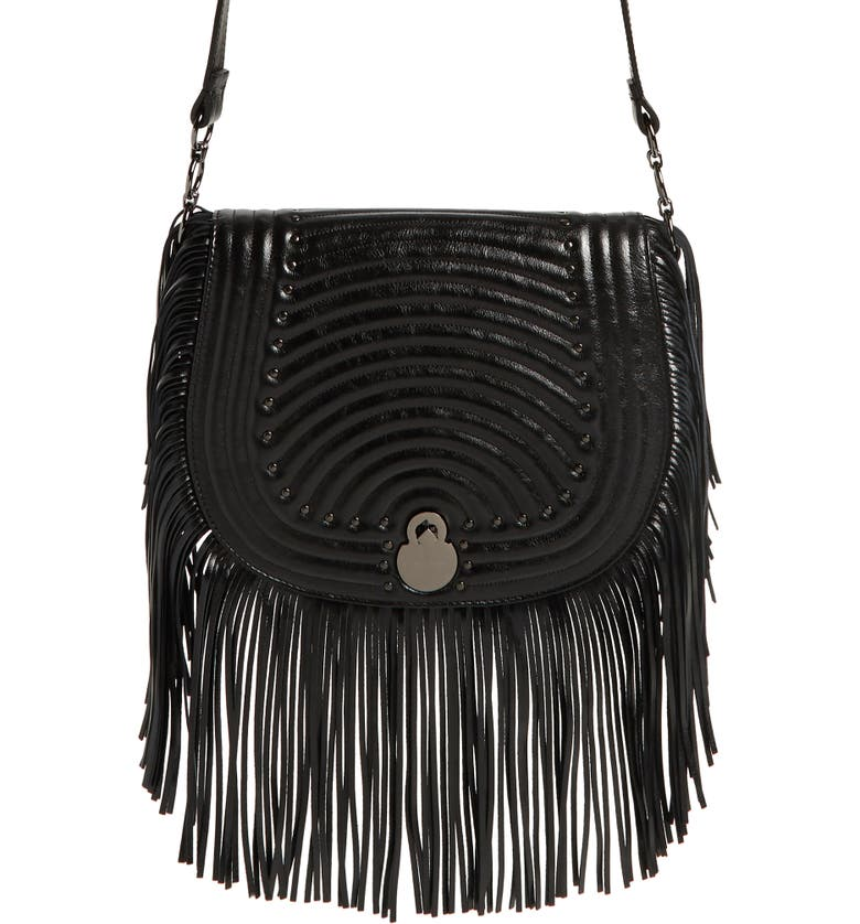 LONGCHAMP Cavalcade Fringe Leather Saddle Bag, Main, color, 001