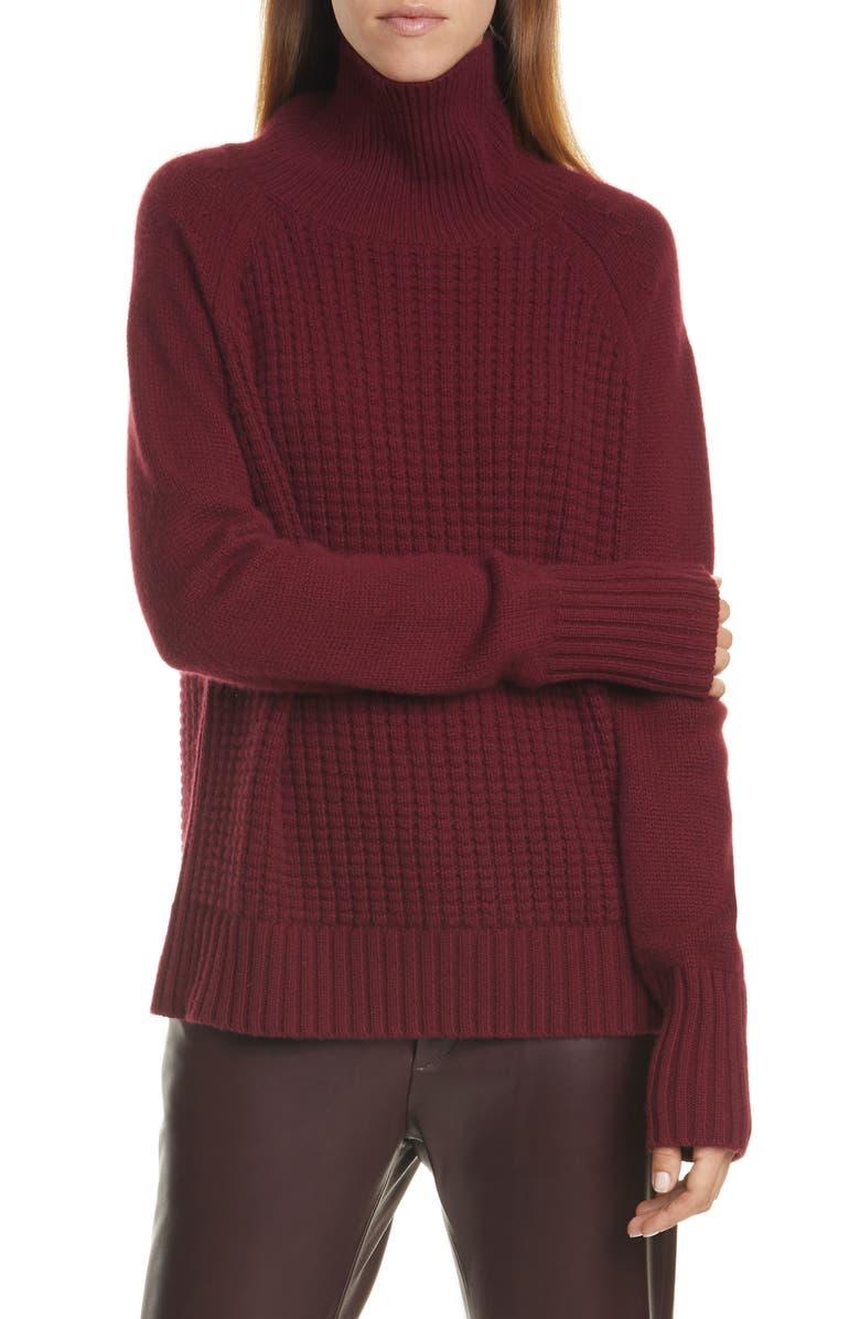 NILI LOTAN Houston Cashmere Turtleneck Sweater, Main, color, MERLOT