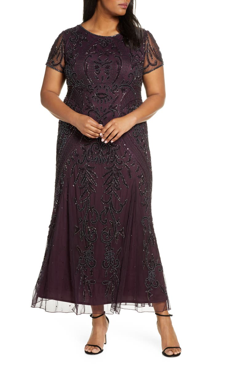 PISARRO NIGHTS Embellished Mesh Maxi Dress, Main, color, WINE