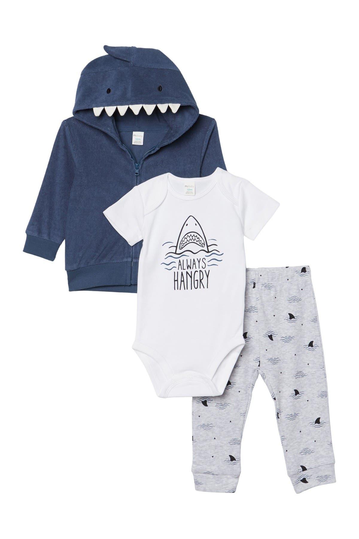 Image of PL Baby by Petit Lem Shark Print Hoodie, Bodysuit, & Bottoms 3-Piece Set