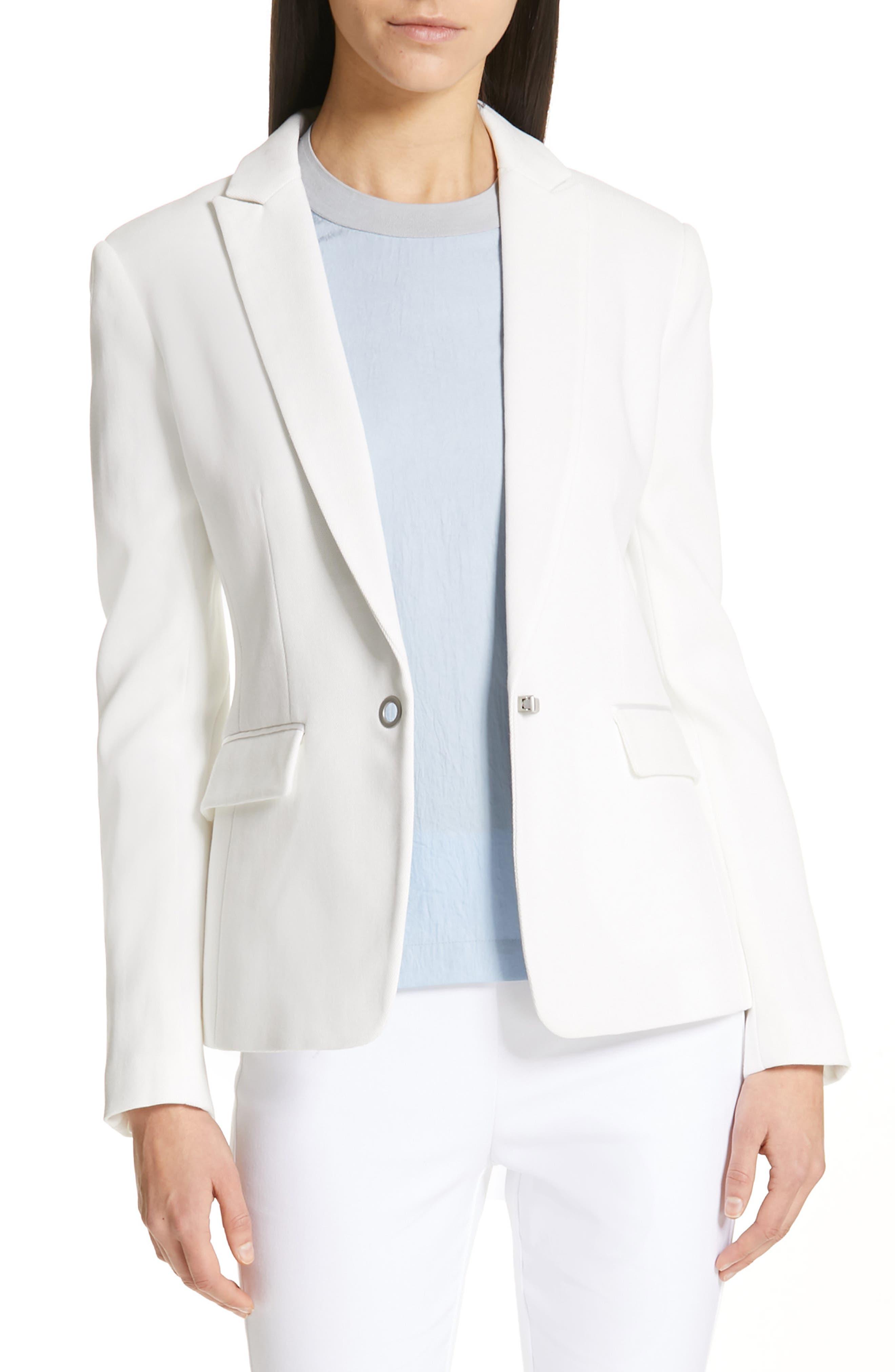 Lexington Cotton Piqué Blazer, Main, color, OFF WHITE
