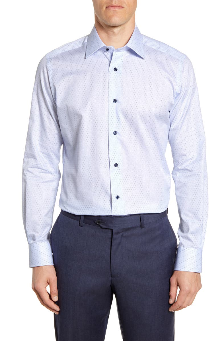 DAVID DONAHUE Trim Fit Dot Dress Shirt, Main, color, SKY/ NAVY