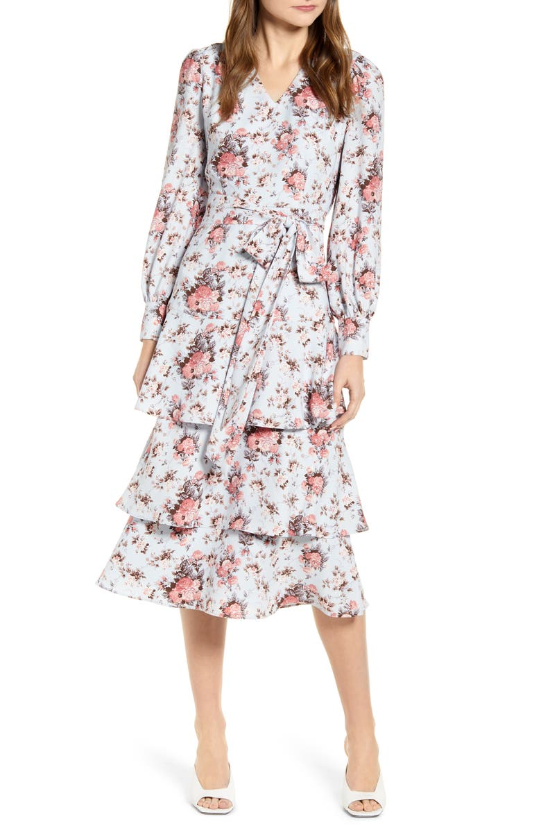 RACHEL PARCELL Long Sleeve Tiered Floral Dress, Main, color, 420