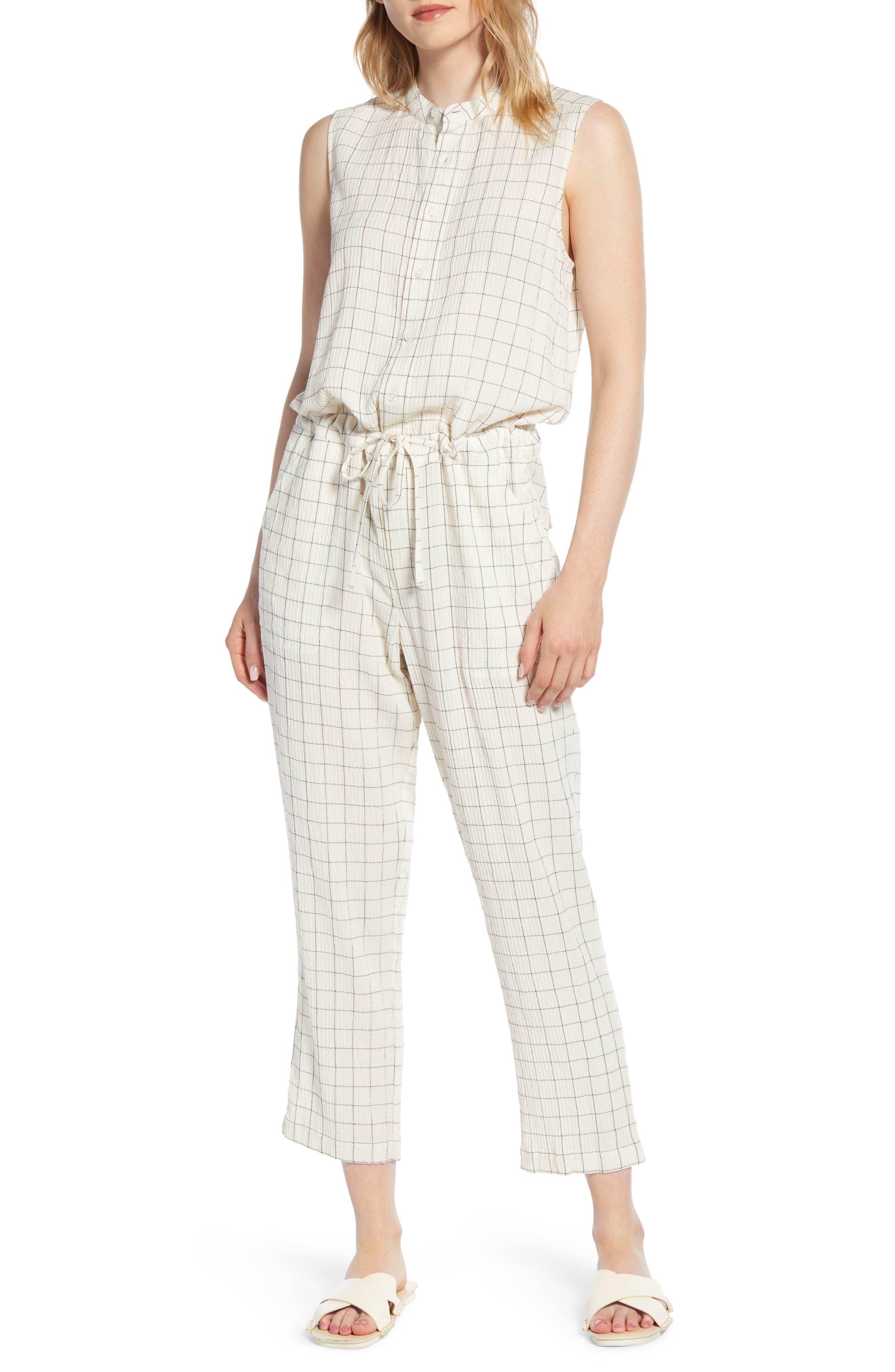 Lou & Grey Crinkled Plaid Sleeveless Jumpsuit, White