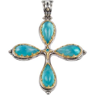 Konstantino Astria Aquamarine Cross Pendant