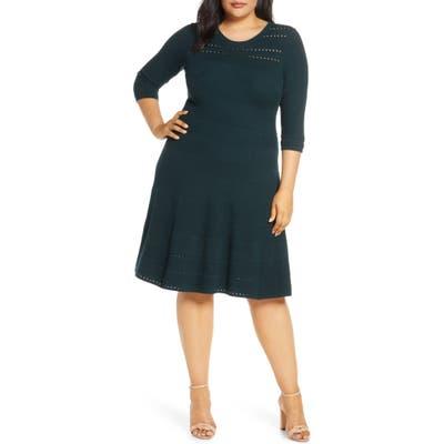Plus Size Eliza J Jacquard Knit Fit & Flare Dress, Green
