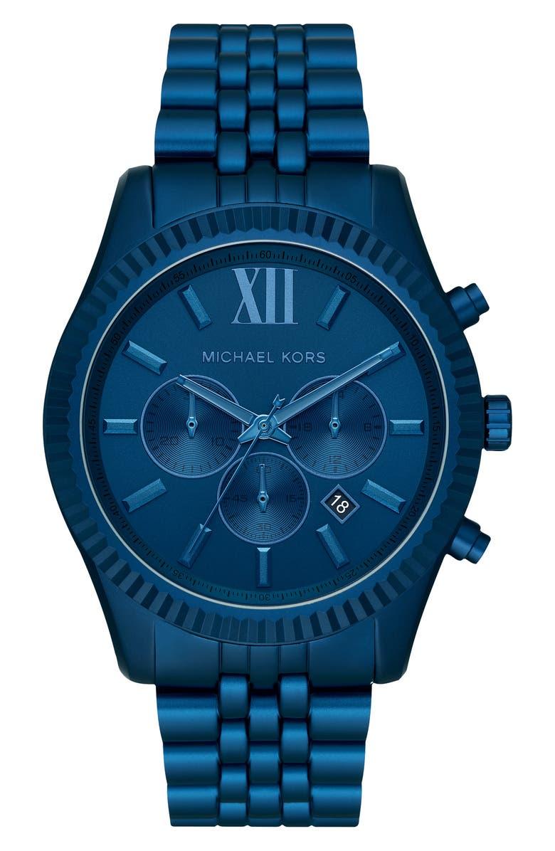 MICHAEL KORS Lexington Bracelet Chronograph Watch, 44mm, Main, color, BLUE