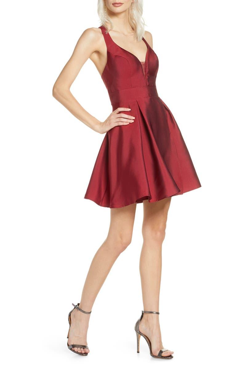 SEQUIN HEARTS Mikado Fit & Flare Dress, Main, color, WINE