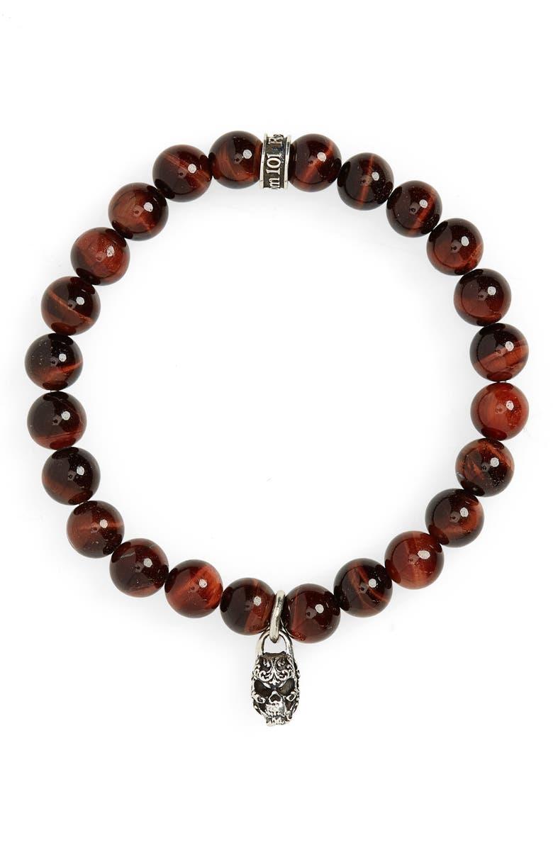 ROOM101 Tiger's Eye Skull Charm Bracelet, Main, color, RED