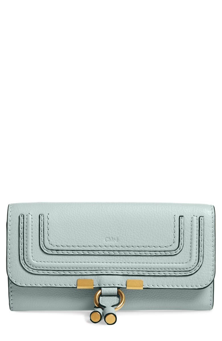 CHLOÉ Marcie Leather Flap Wallet, Main, color, FADED BLUE