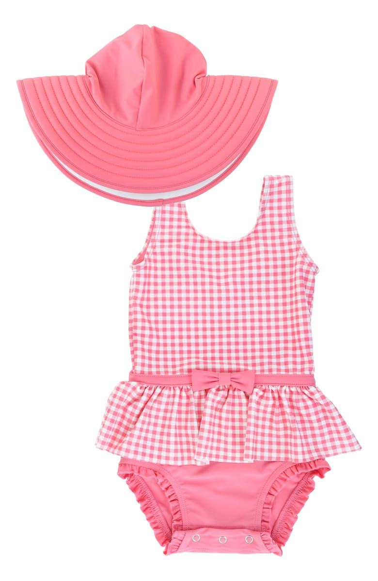 RUFFLEBUTTS Rose Gingham One-Piece Swimsuit & Floppy Hat Set, Main, color, PINK