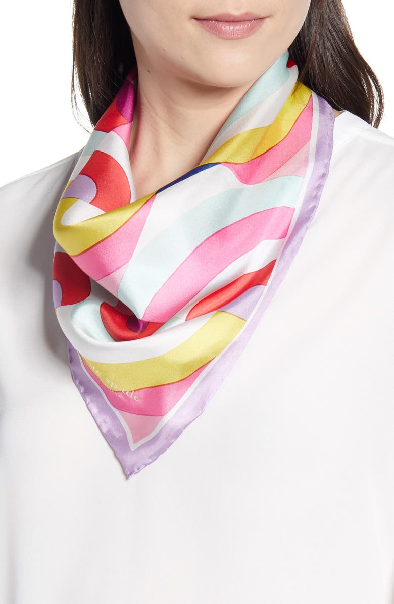 KATE SPADE NEW YORK painted rainbow silk scarf, Main, color, FRENCH CREAM MULTI