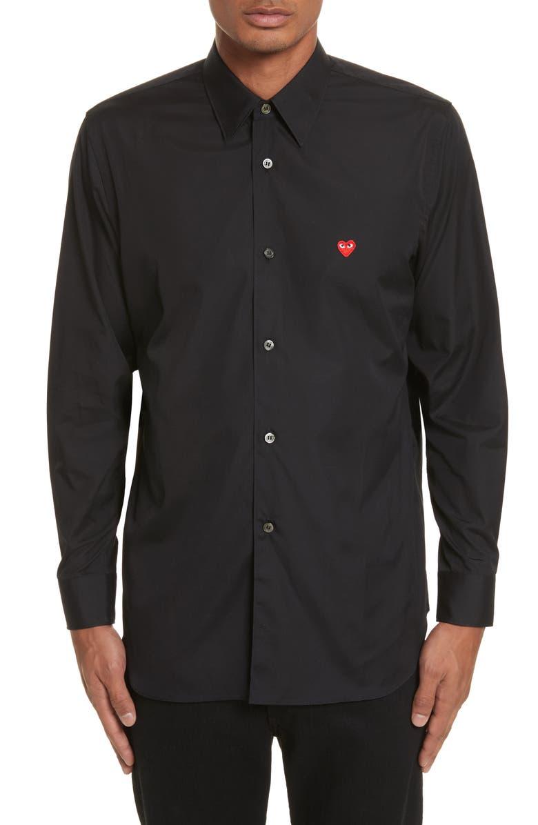 COMME DES GARÇONS PLAY Slim Fit Oxford Shirt, Main, color, BLACK