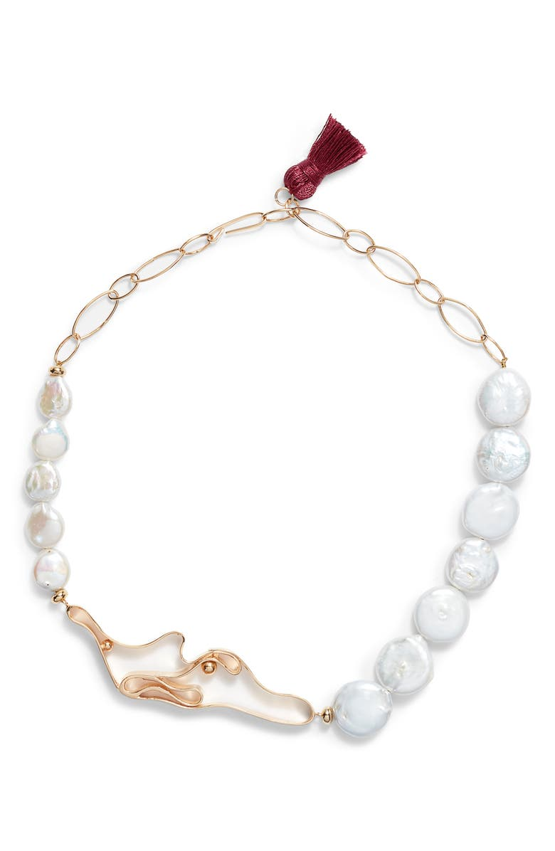 NECTAR NECTAR Winding Mother-of-Pearl Collar Necklace, Main, color, 710