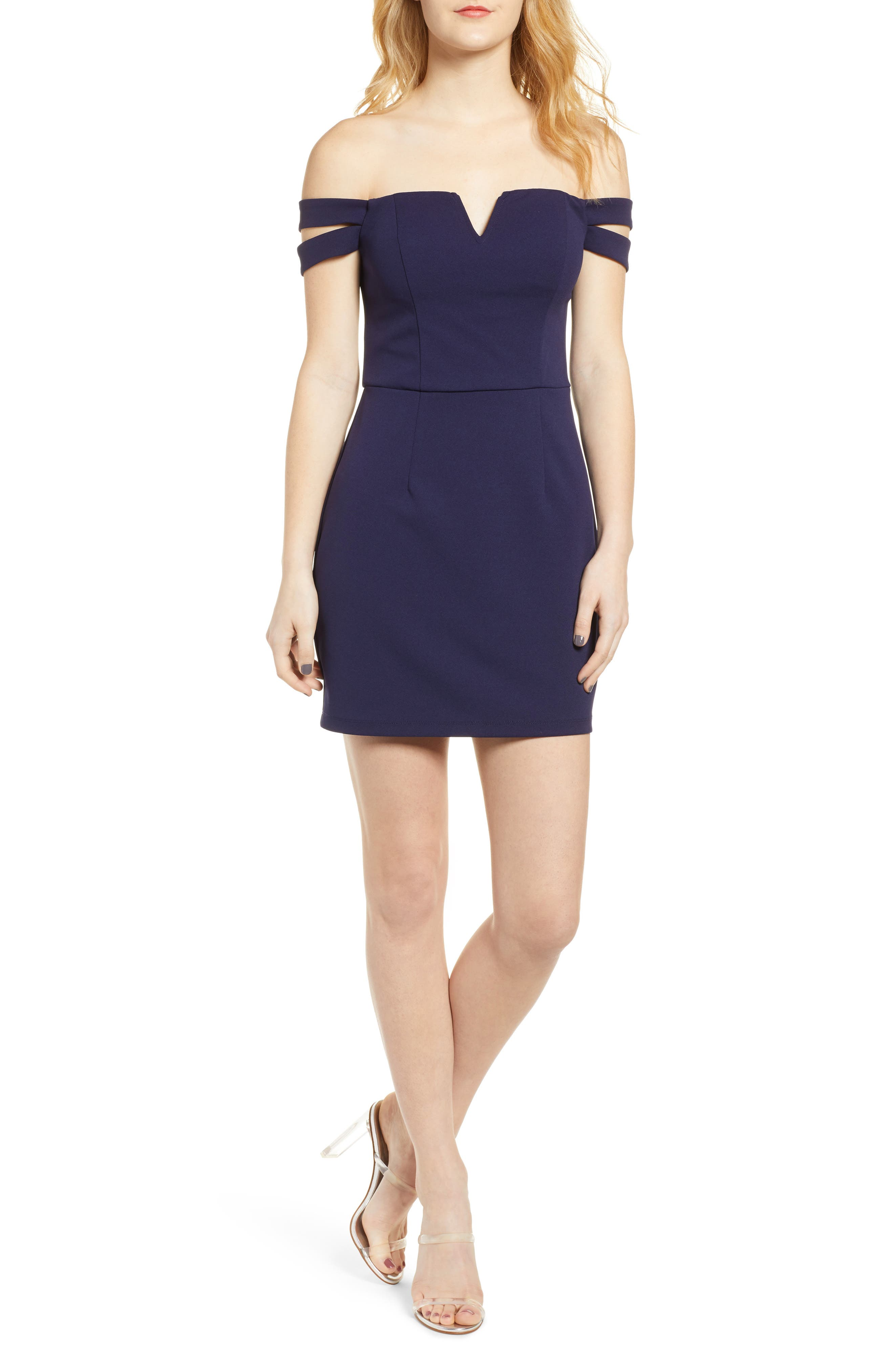 Speechless Double Strap Off The Shoulder Body-Con Dress, Blue
