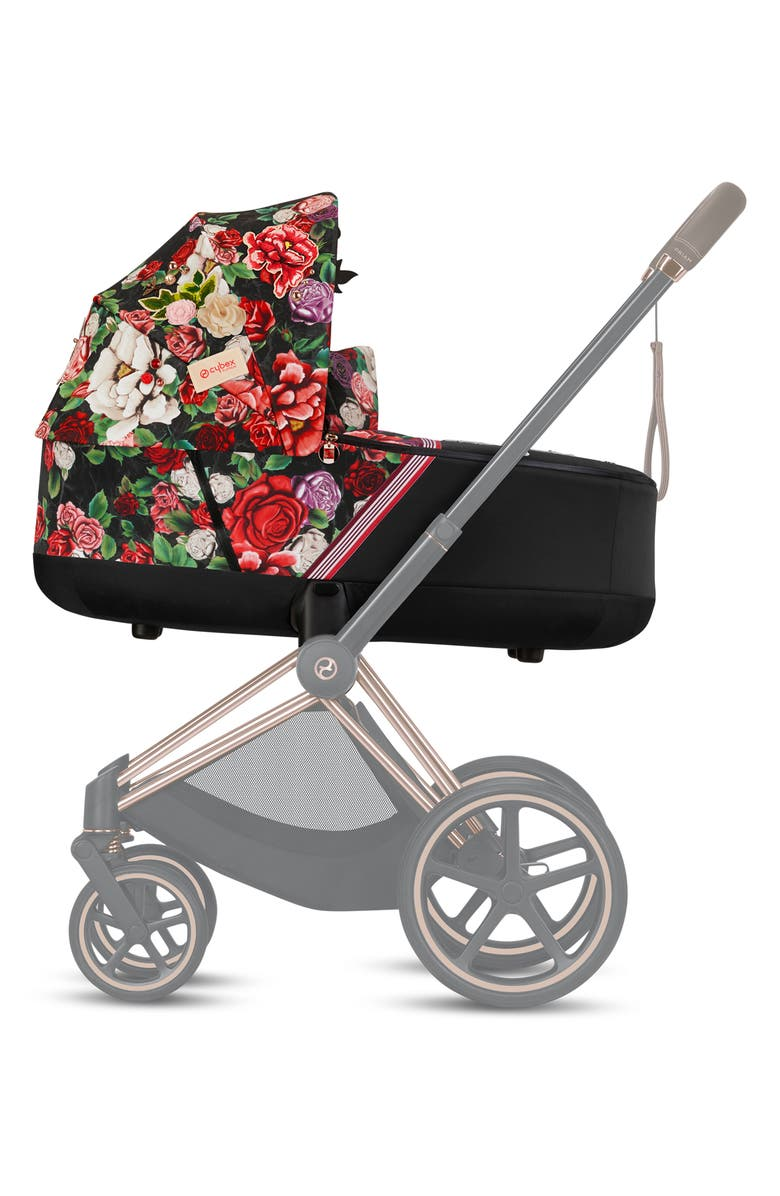 CYBEX Priam Lux Dark Spring Blossom Carry Cot, Main, color, BLACK