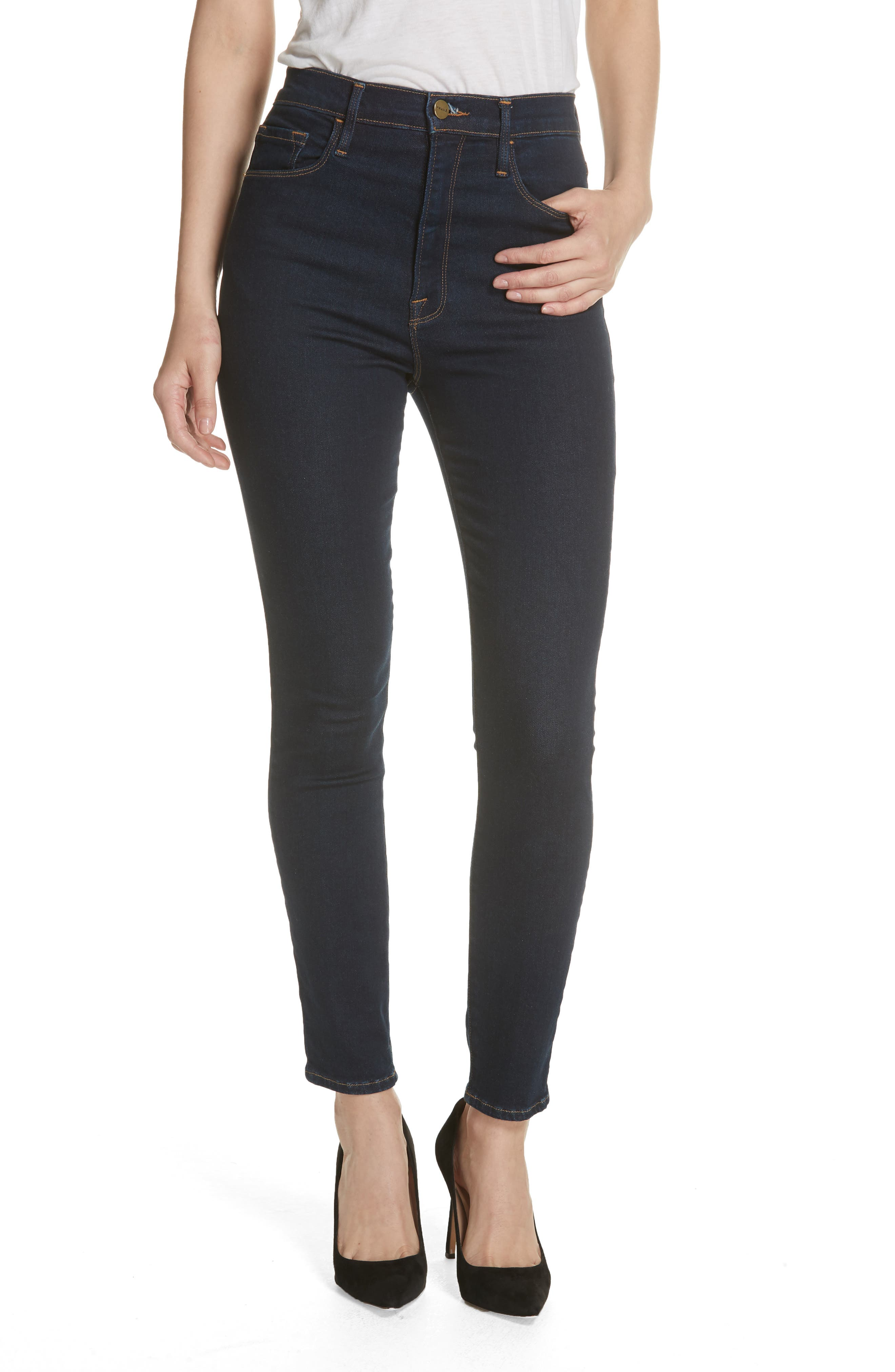 Women's Frame Ali High Waist Cigarette Skinny Jeans,  25 - Blue
