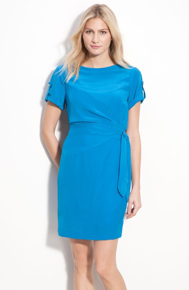 DONNA MORGAN Silk Crêpe de Chine Dress, Main, color, 402
