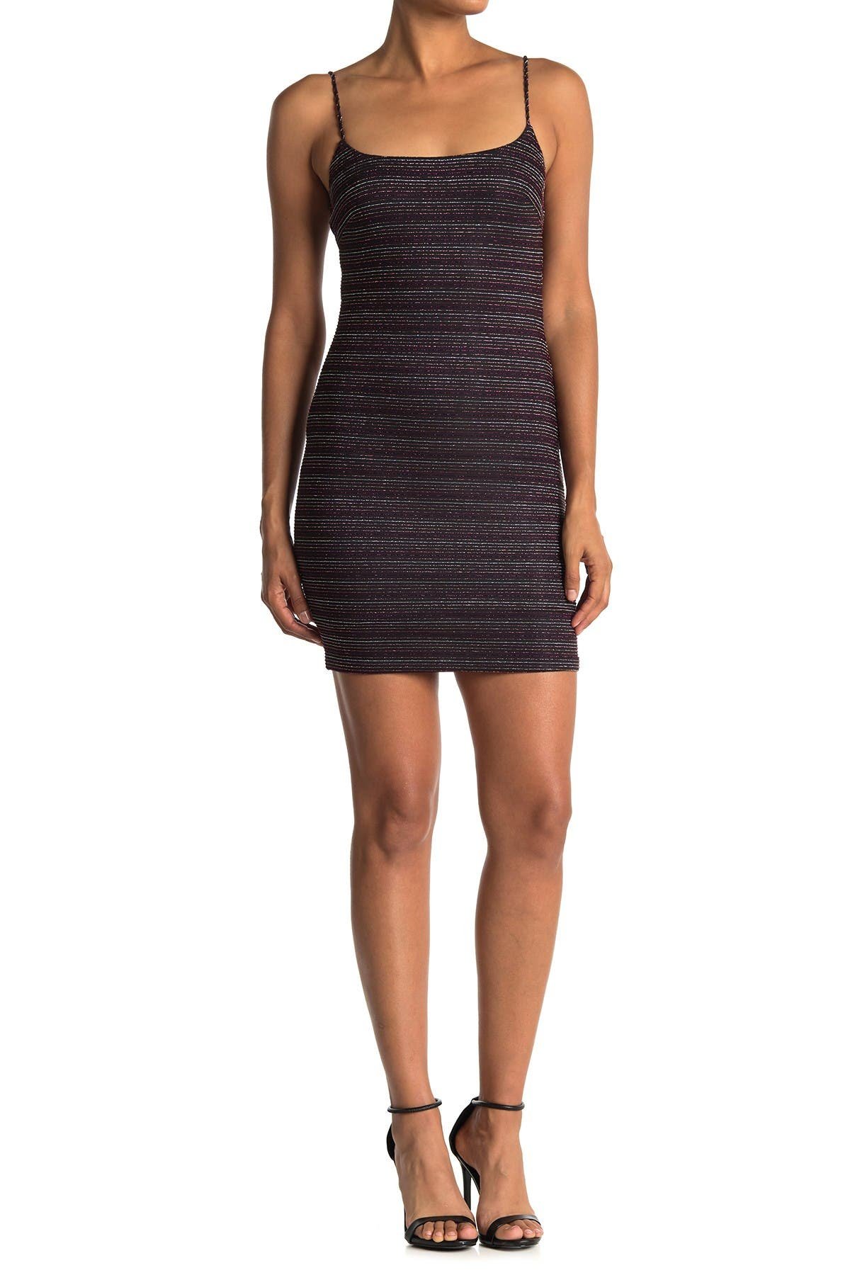 Image of Lush Metallic Stripe Bodycon Mini Dress