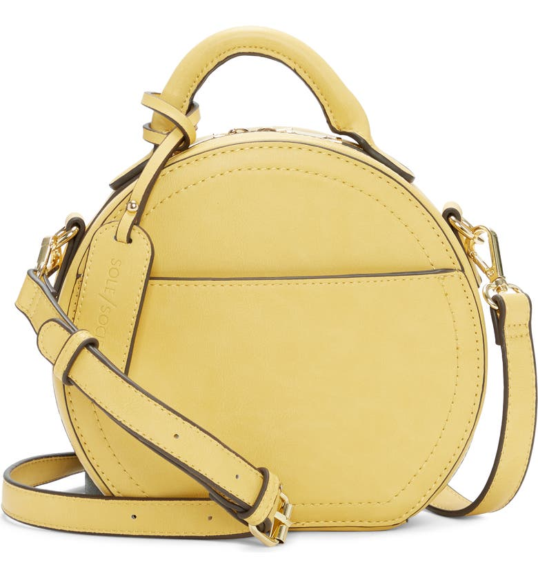 SOLE SOCIETY Glyso Faux Leather Crossbody Bag, Main, color, SAFFRON