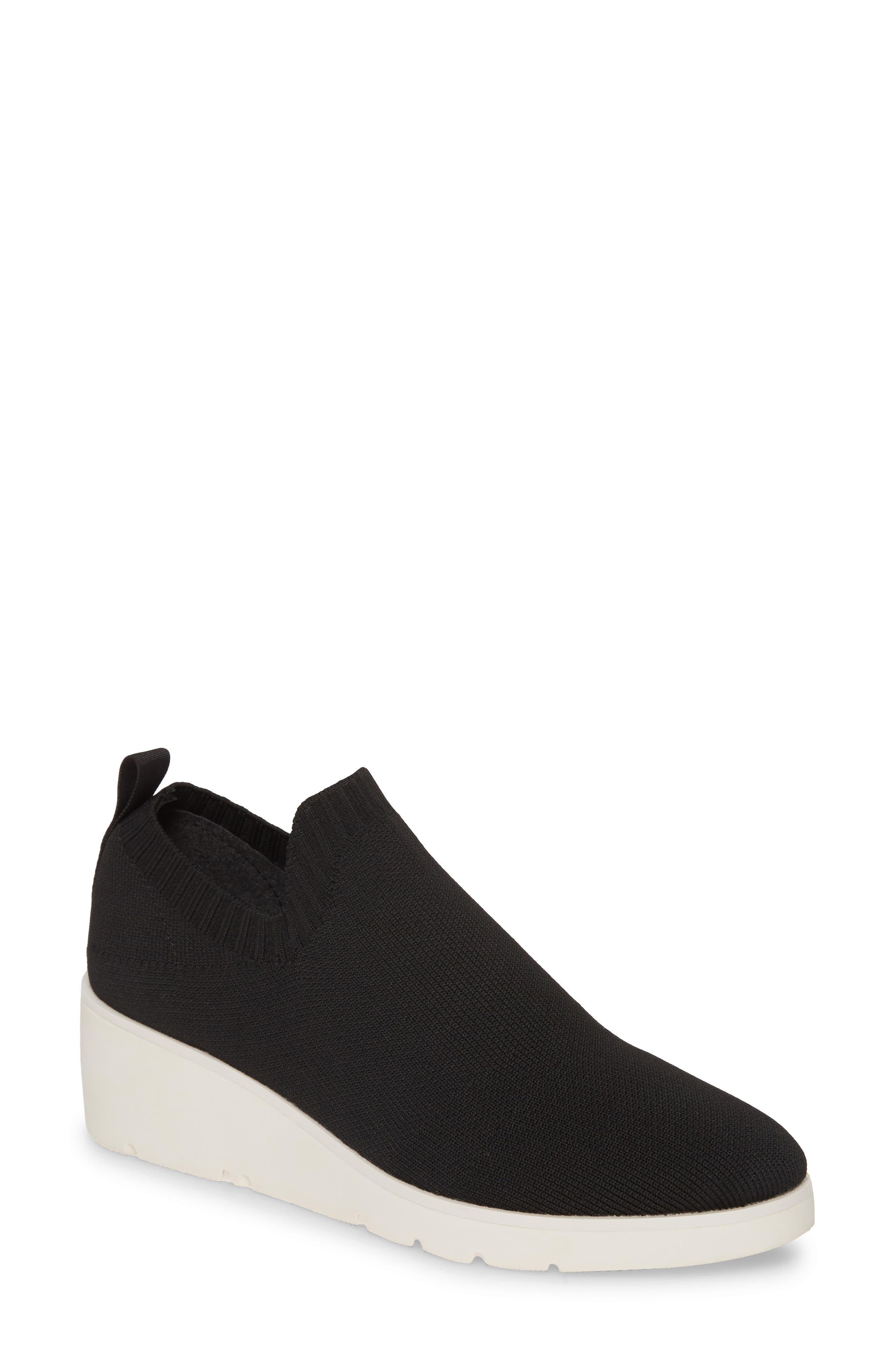Steven By Steve Madden Knit Wedge Sneaker- Black