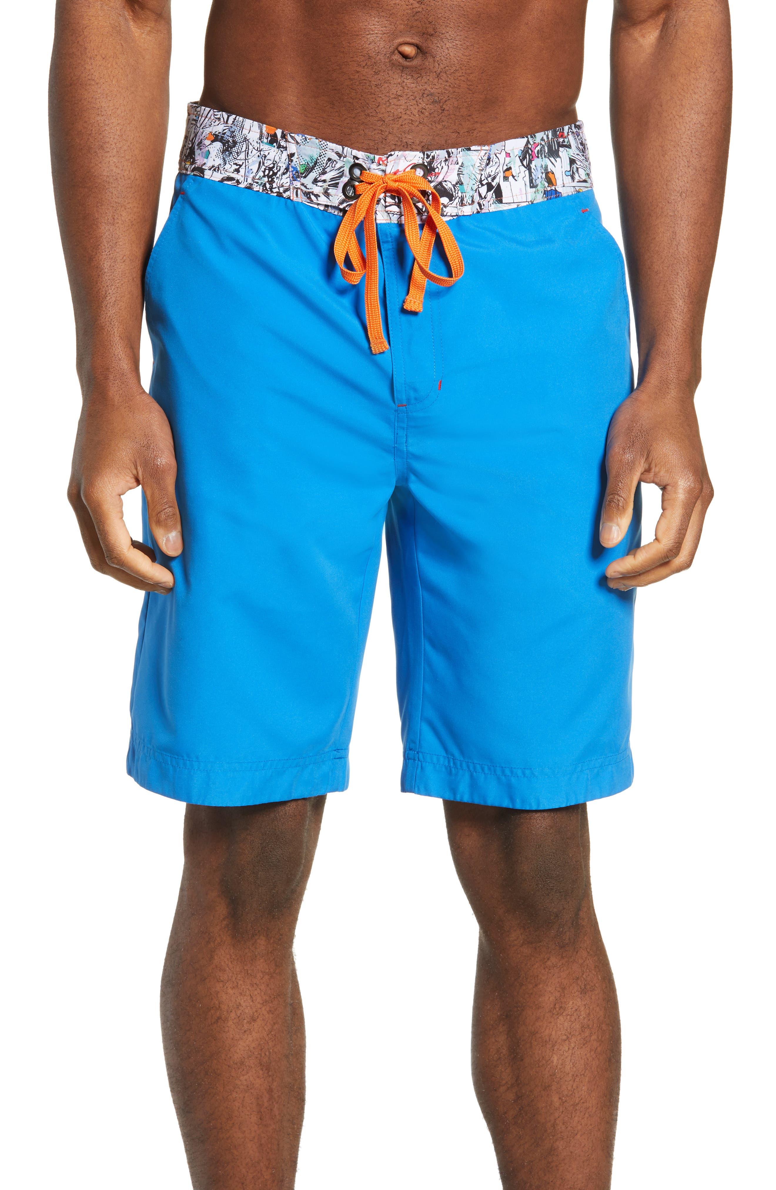 Robert Graham Captain Good Board Shorts, Blue