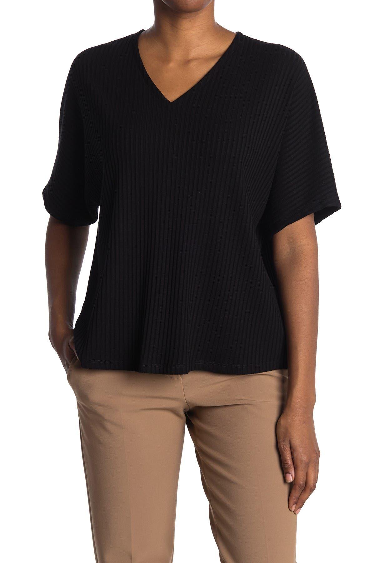 Image of Eileen Fisher V-Neck Short Sleeve Top